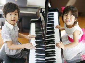 東京のピアノ教室|東京ルクスピアノ教室|夏の無料体験キャンペーン女のことと男のこがピアノを弾く画像イメージ